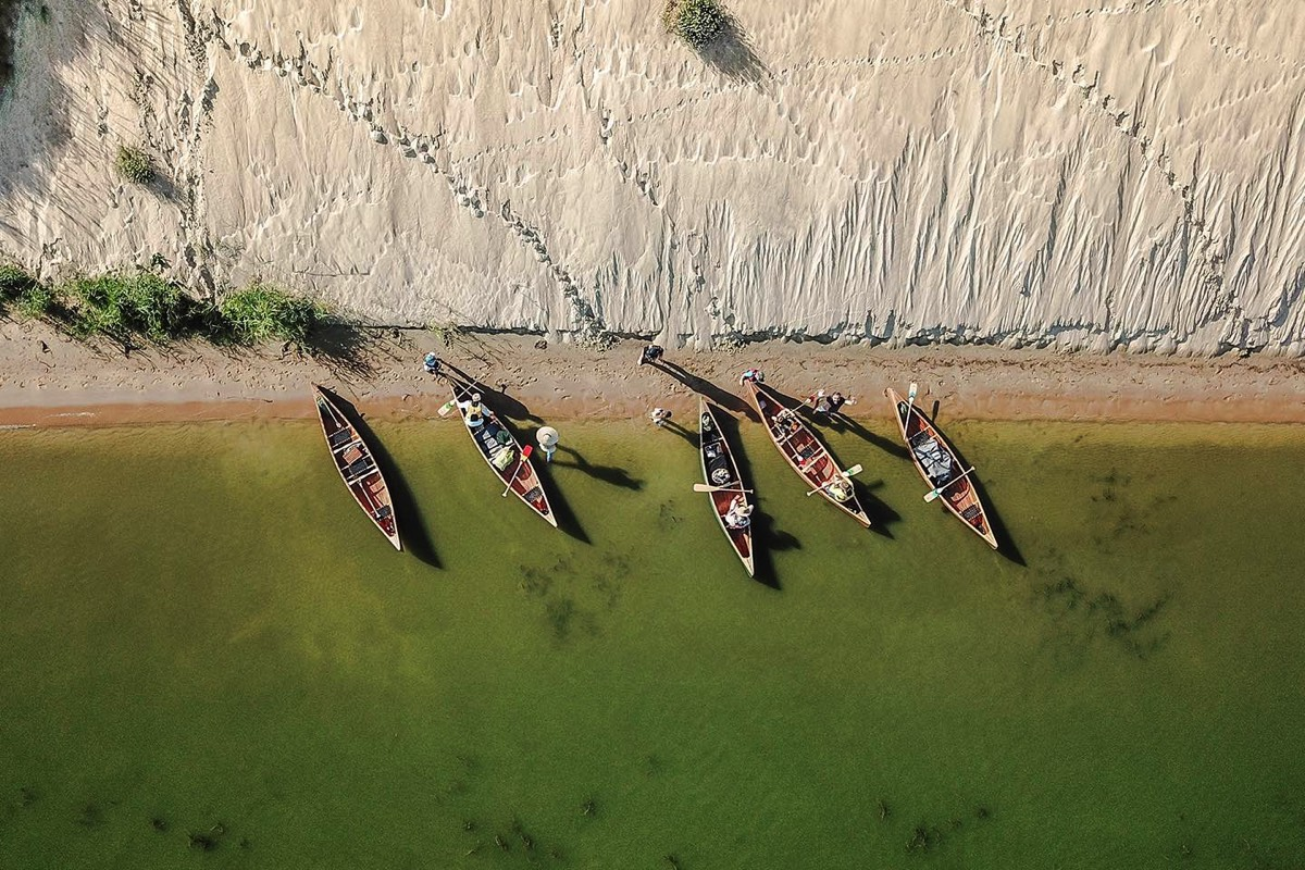 Four canoes from above